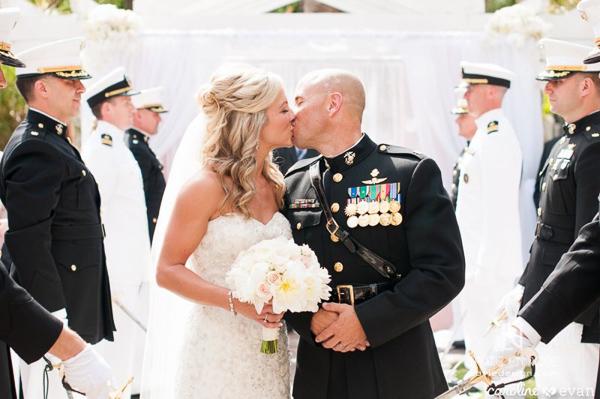 la-vie-en-rose-wedding-ceremony-kiss-marine-military-bride-and-groom-vinoy-renaissance-st-petersburg-florida