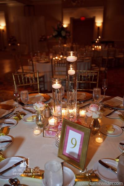 la-vie-en-rose-wedding-reception-centerpiece-floating-candle-mariott-waterside-hotel-tampa-florida