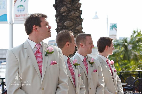 la-vie-en-rose-wedding-groomsman-pink-tie-mariott-waterside-hotel-tampa-florida