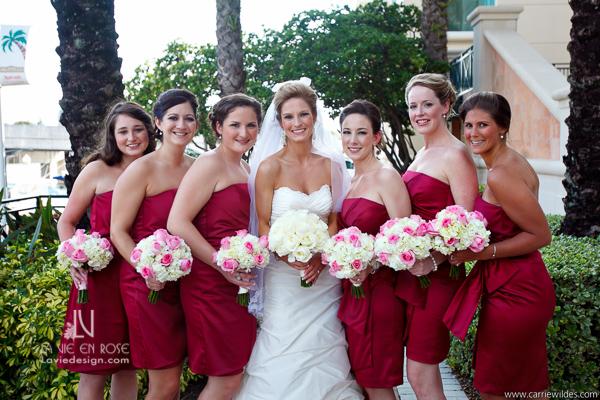 la-vie-en-rose-wedding-bridesmaids-crimson-fucia-Mariott-Waterside-Hotel-Tampa-Florida