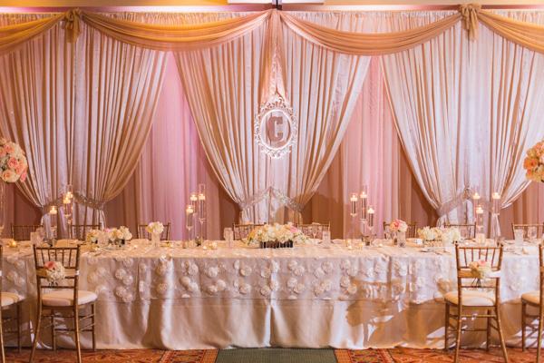 la-vie-en-rose-wedding-reception-party-table-monogram-pink-centerpiece-floating-candle-mercury-votive-carillon-hilton-hotel-st-petersburg-florida