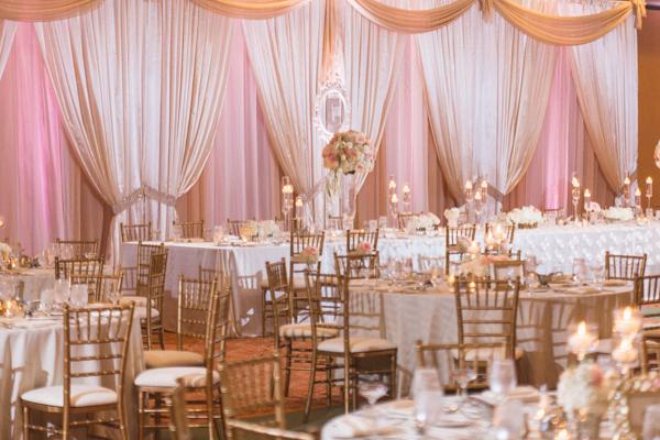 la-vie-en-rose-wedding-reception-floating-candle-pink-bridal-party-monogram-drape-linen-centerpiece-carillon-hilton-hotel-st-petersburg-florida