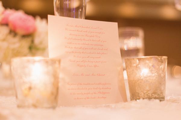 la-vie-en-rose-wedding-mercury-votive-candle-menu-centerpiece-reception-carillon-hilton-hotel-st-petersburg-florida