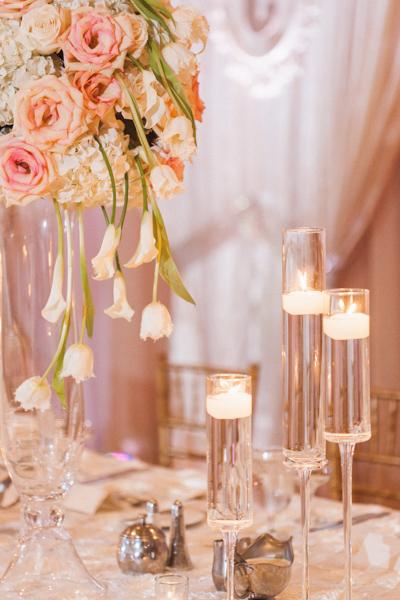 la-vie-en-rose-wedding-reception-party-table-centerpiece-cascade-calla-lily-fringed-tulip-tall-vase-floating-candle-mercury-votive-carillon-hilton-hotel-st-petersburg-florida