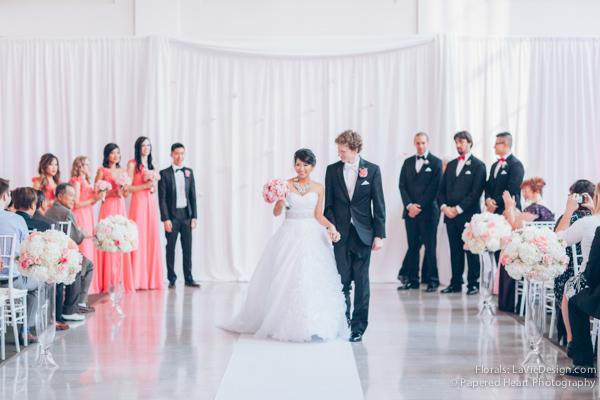 la-vie-en-rose-wedding-bride-groom-bouqyet-pink-peony-white-hydrangea-hanging-crystal-curtain-drape-the-vault-downtown-tampa-florida