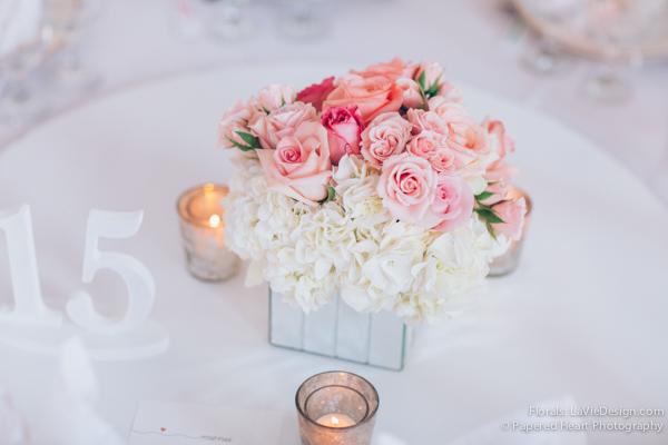 la-vie-en-rose-reception-low-mirrored-vase-mercury-votive-pink-white-hydrangea-centerpiece-the-vault-downtown-tampa-florida