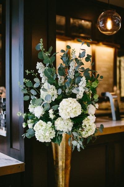 la-vie-en-rose-tampa-bay-Florida-wedding-love-ceremony-reception-flowers-large-arrangement-greenery-white-blooms-blush-roses-stock-hydrangea-eucalyptus-gold-vase-astillbe-ivory-elegant-The-Oxford-Exchange