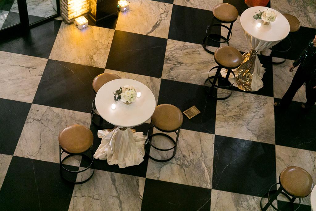 La-vie-en-rose-tampa-florida-wedding-gorgeous-cocktail-hour-centerpiece-white-ivory-blush-hydrangea-flower-eucalyptus-elegant-oxford-exchange