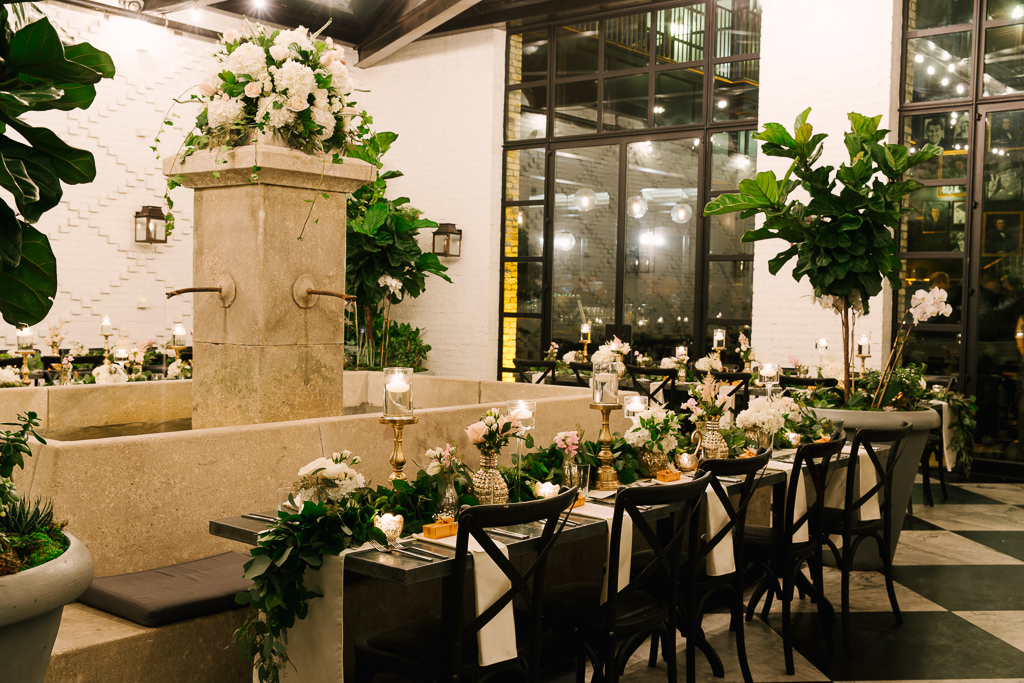La-vie-en-rose-tampa-florida-wedding-gorgeous-reception-garland-white-ivory-blush-peony-garden-flower-eucalyptus-elegant-oxford-exchange