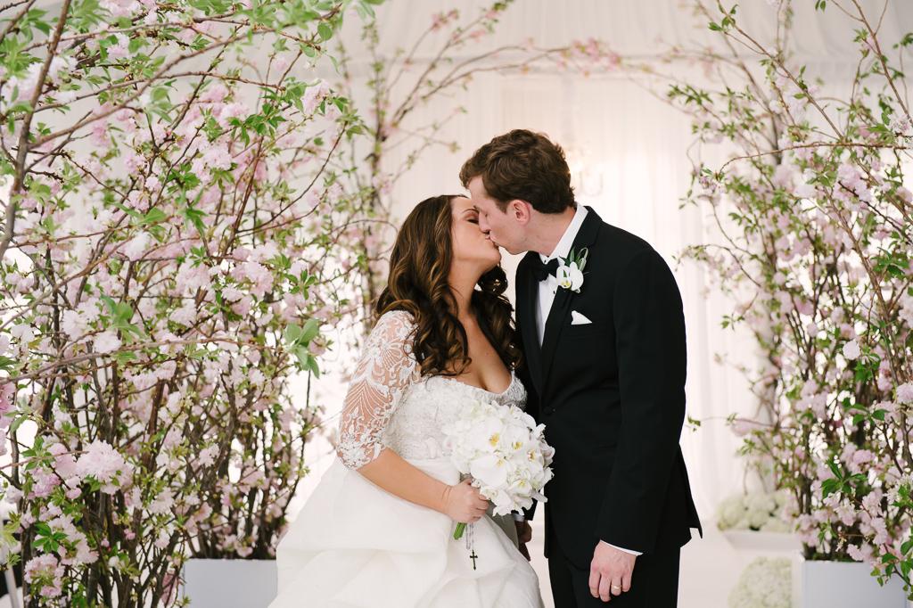 La-vie-en-rose-st-pete-florida-wedding--ceremony-arch-white-ivory-blush-hydrangea-cherry-blossom-flower-carpet-elegant-vinoy