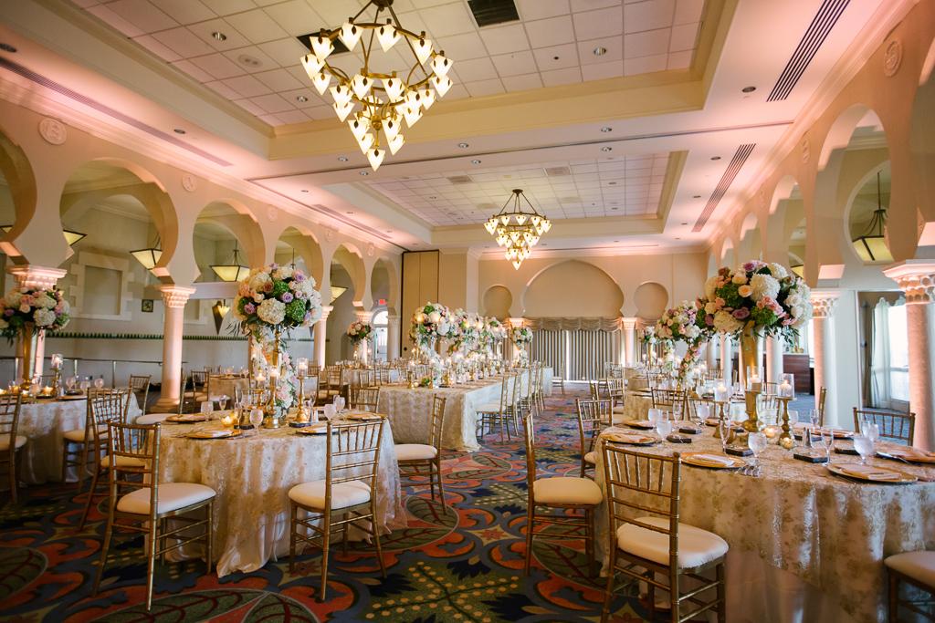 La-vie-en-rose-st-pete-florida-wedding-centerpiece-reception-white-ivory-blush-purple-pink-hydrangea-flower-crystal-candelabra-elegant-vinoy