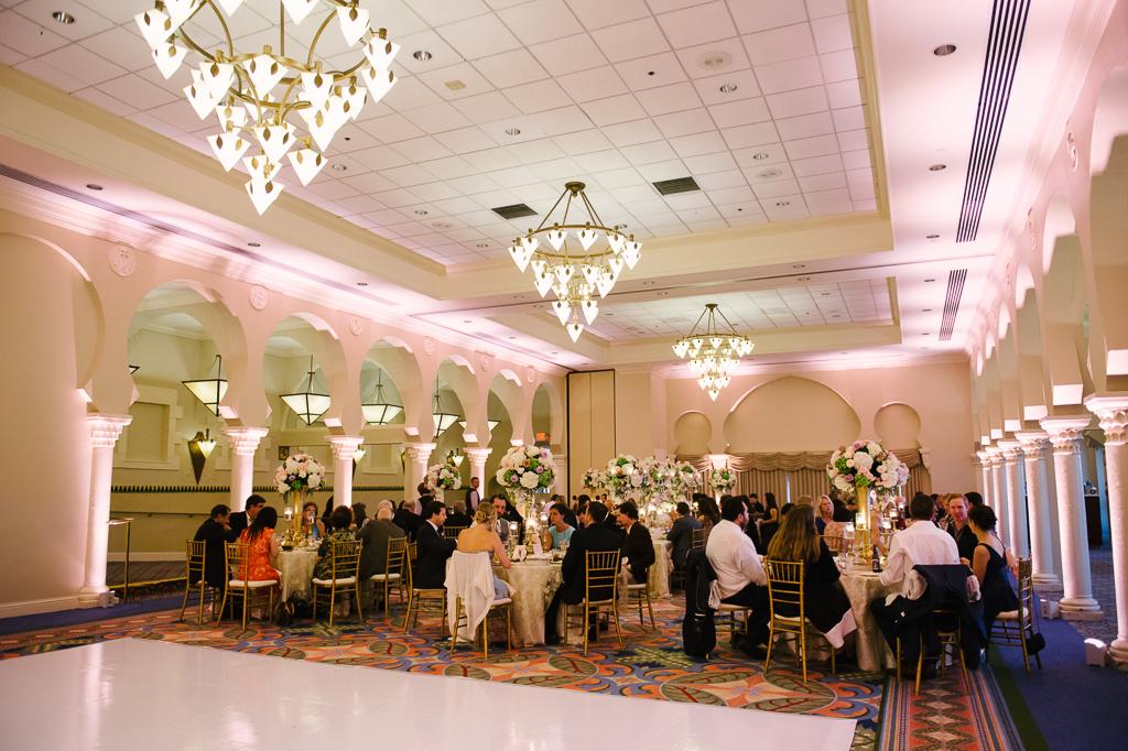 La-vie-en-rose-st-pete-florida-wedding-dance-floor-reception-white-gold-candelabra-elegant-vinoy