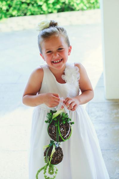 La-vie-en-rose-clearwater-beach-florida-wedding-gorgeous-ceremony-flower-girl-pomander-white-green-elegant-sandpearl
