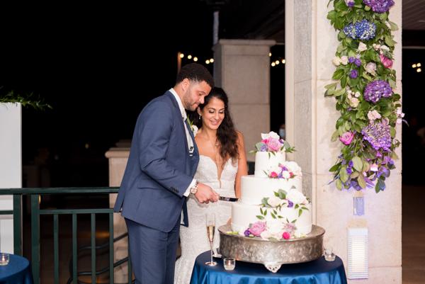 La-vie-en-rose-sarasota-florida-wedding-white-purple-reception-cake-elegant-ritz-carlton-club