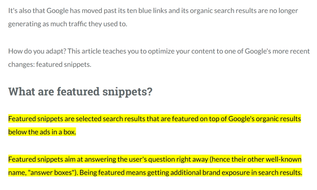 Featured Snippets Example 2