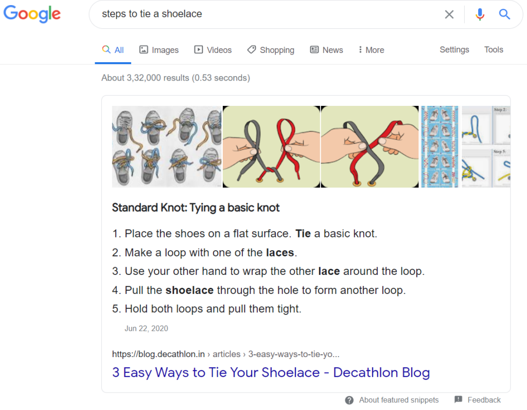 list featured snippets example