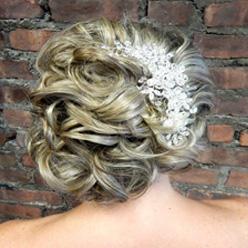 Blonde bridal up-do