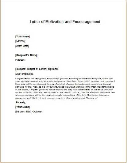 motivational letter to employee Letter of Motivation and Encouragement to Staff