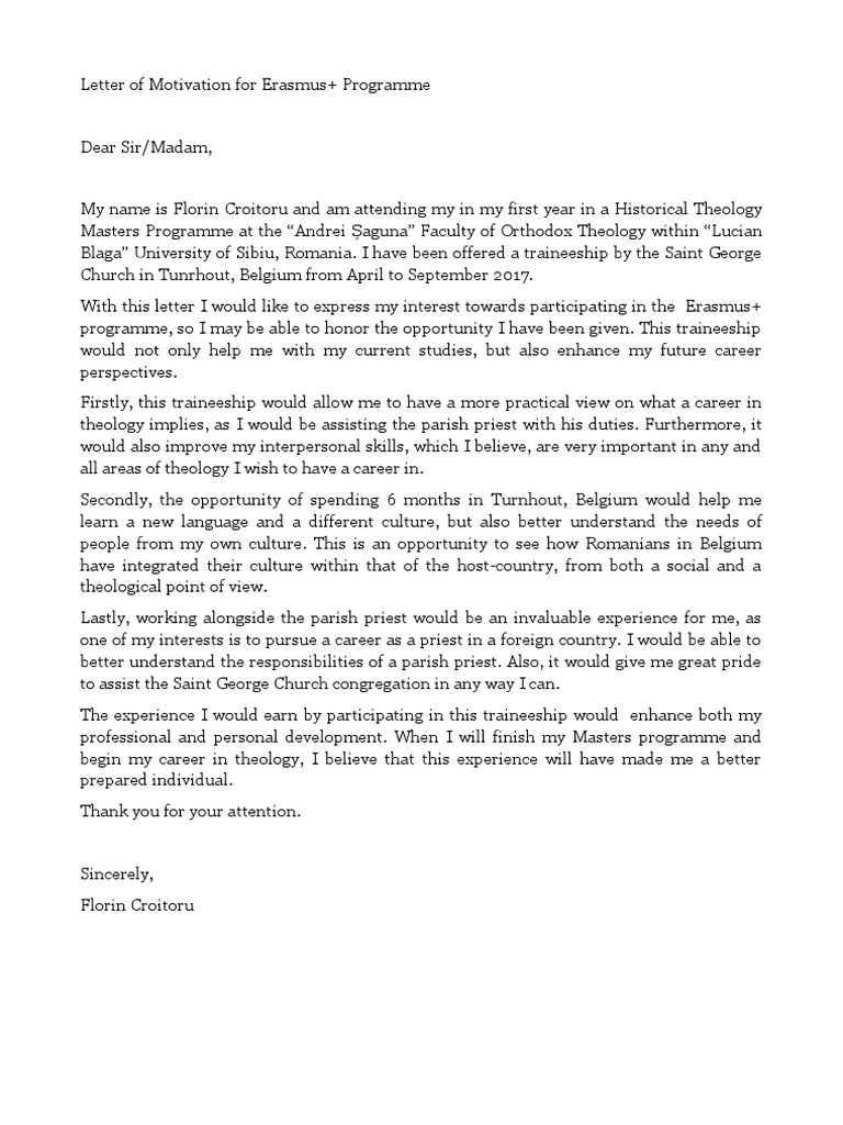 Letter of Motivation Erasmus university