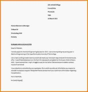 Motivation Letter For Bursary Application PDF