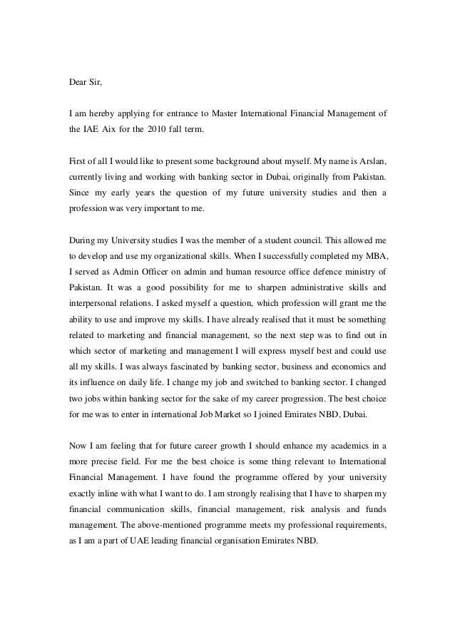 Motivation Letter for Masters Sample