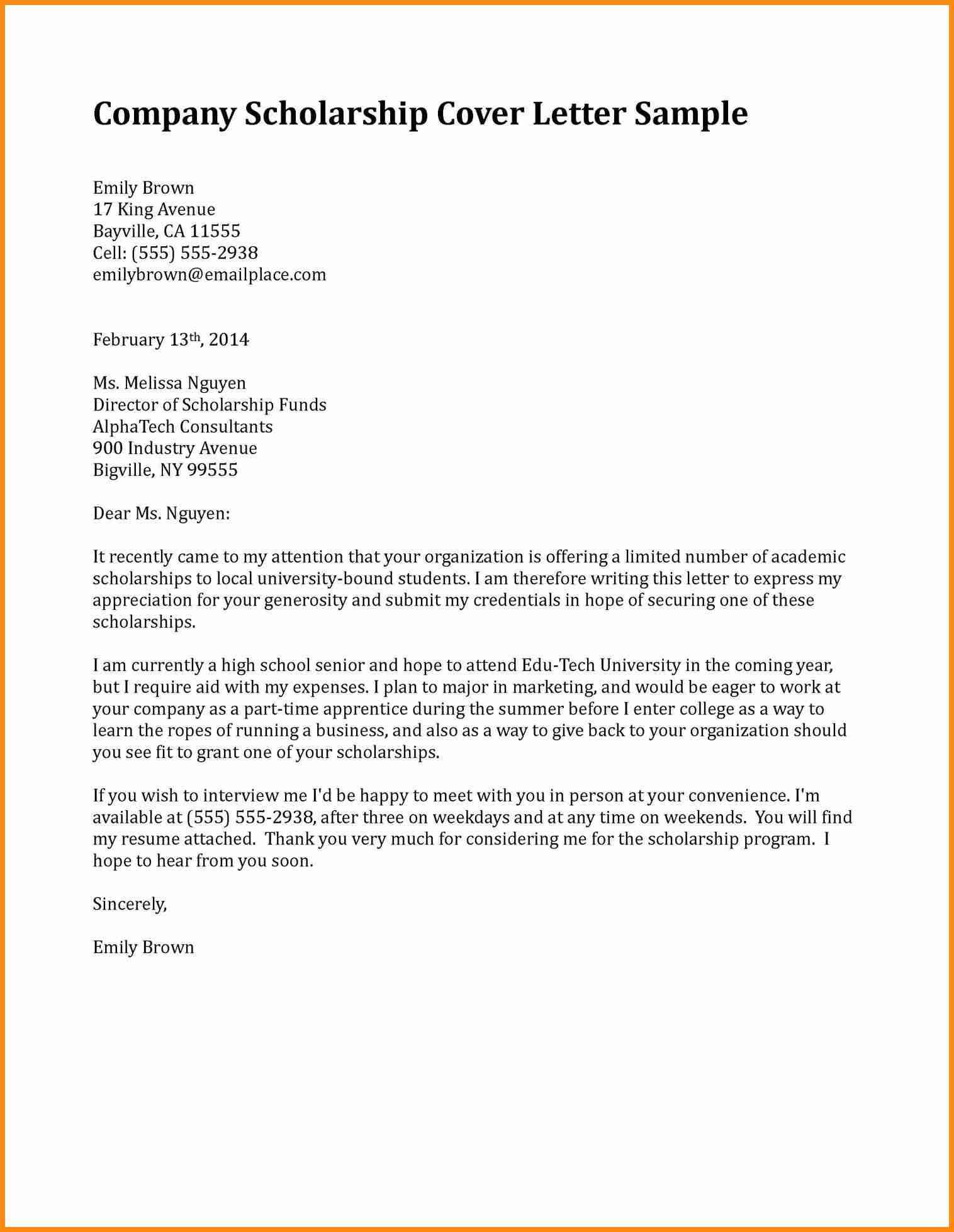 Motivation Letter for Scholarship Example
