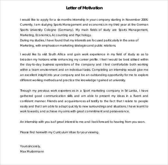 Motivation Letter Template For Job