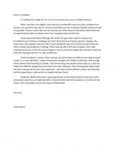 Motivation Letter for Study Abroad Sample