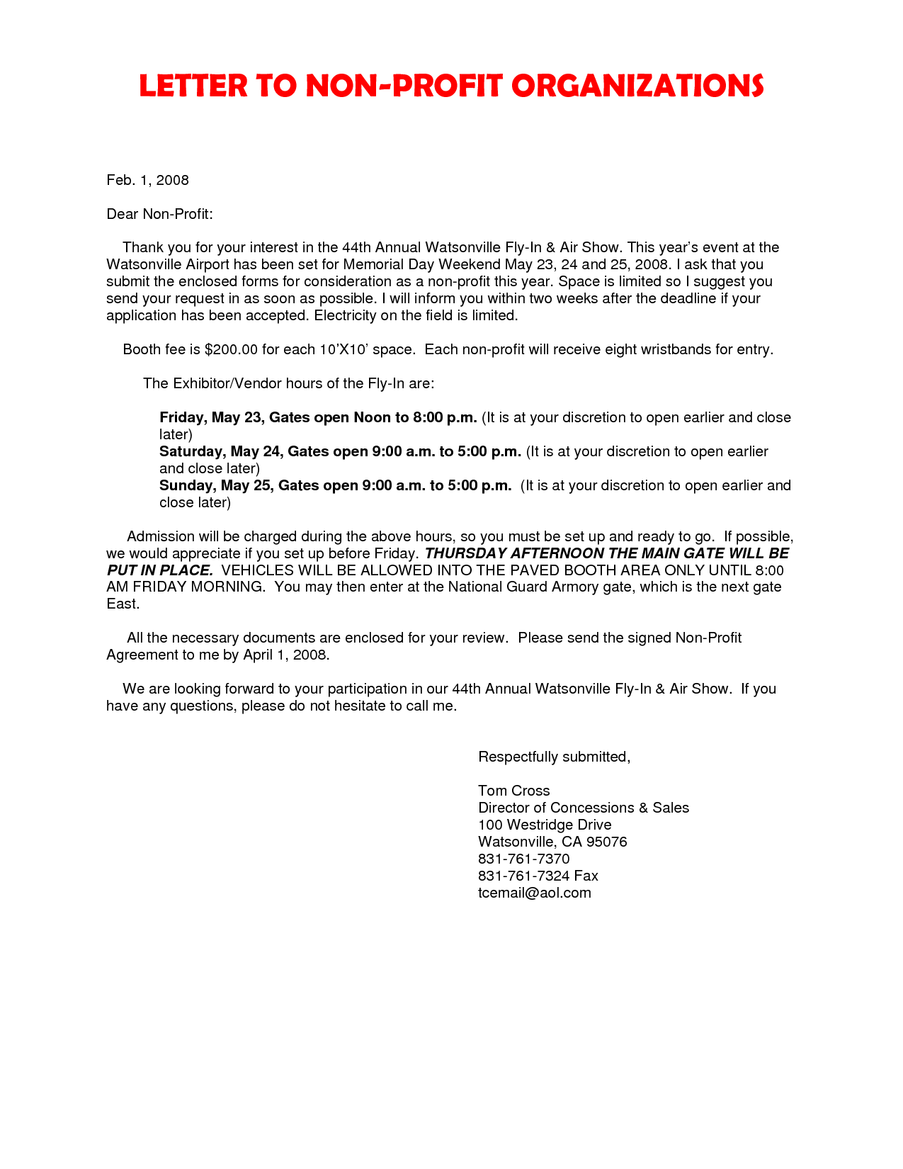 Motivation Letter for Non Profit Organization