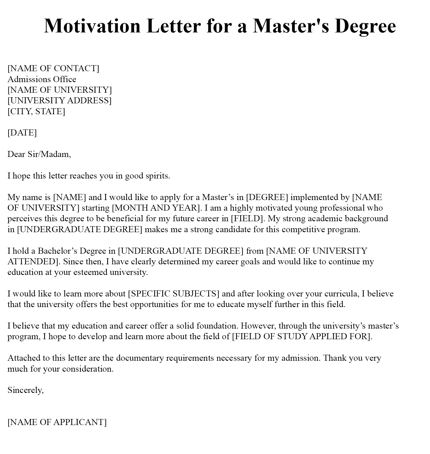 Motivation Letter For Master Degree Sample PDF