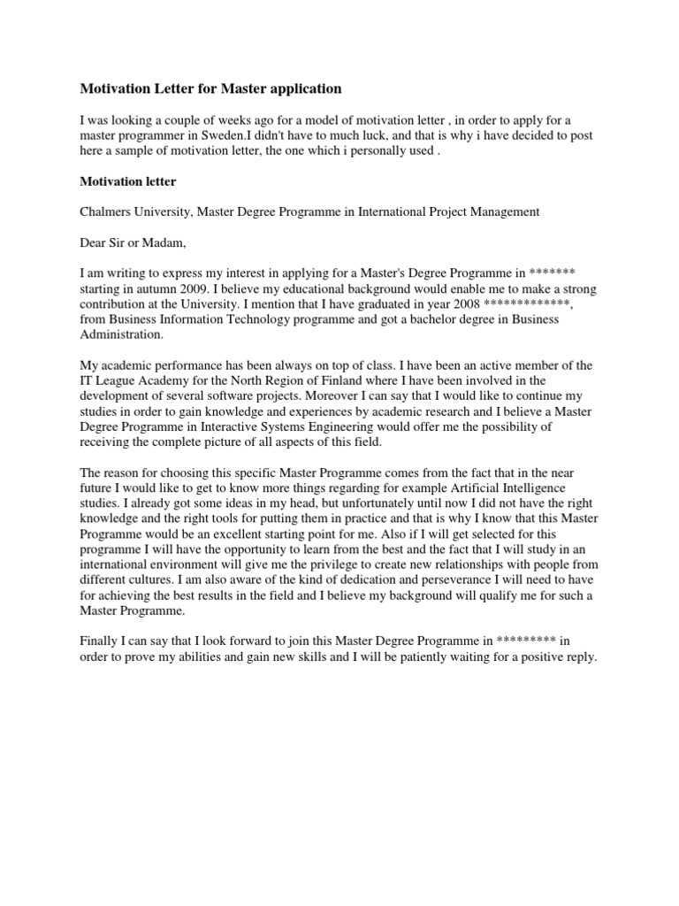 Motivation Letter Sample for Master