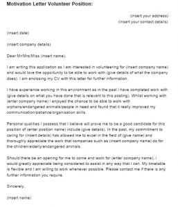 Volunteer Motivation Letter Sample