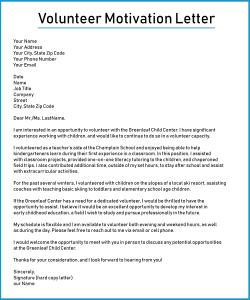 Youth Volunteer Motivation Letter