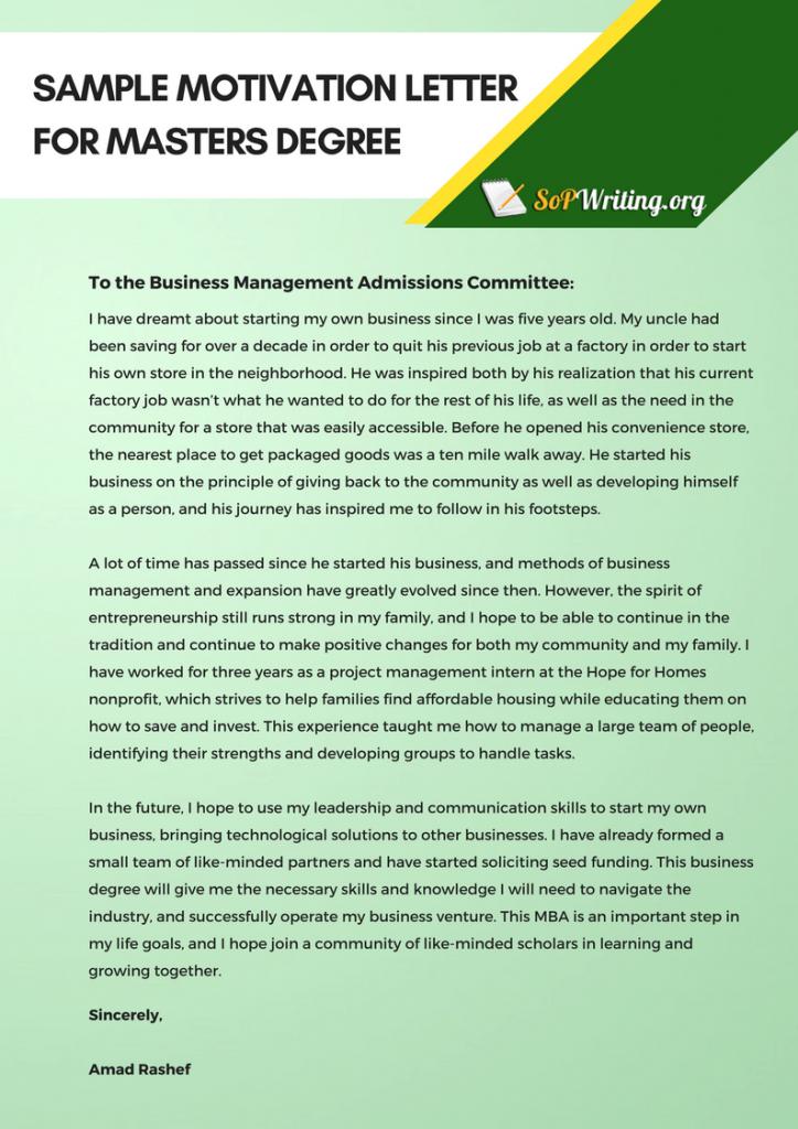 Sample Motivation Letter Template for Admission