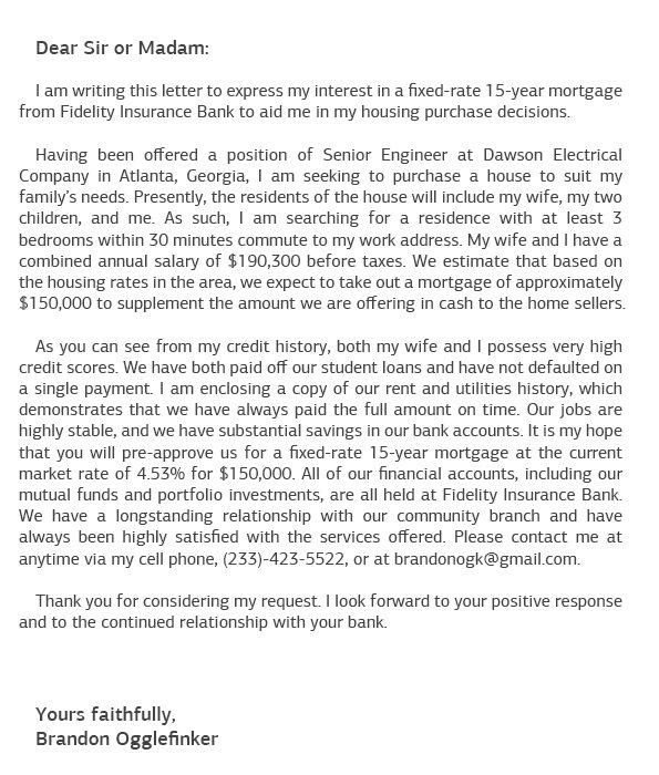 Sample Motivation Letter for Mortgage