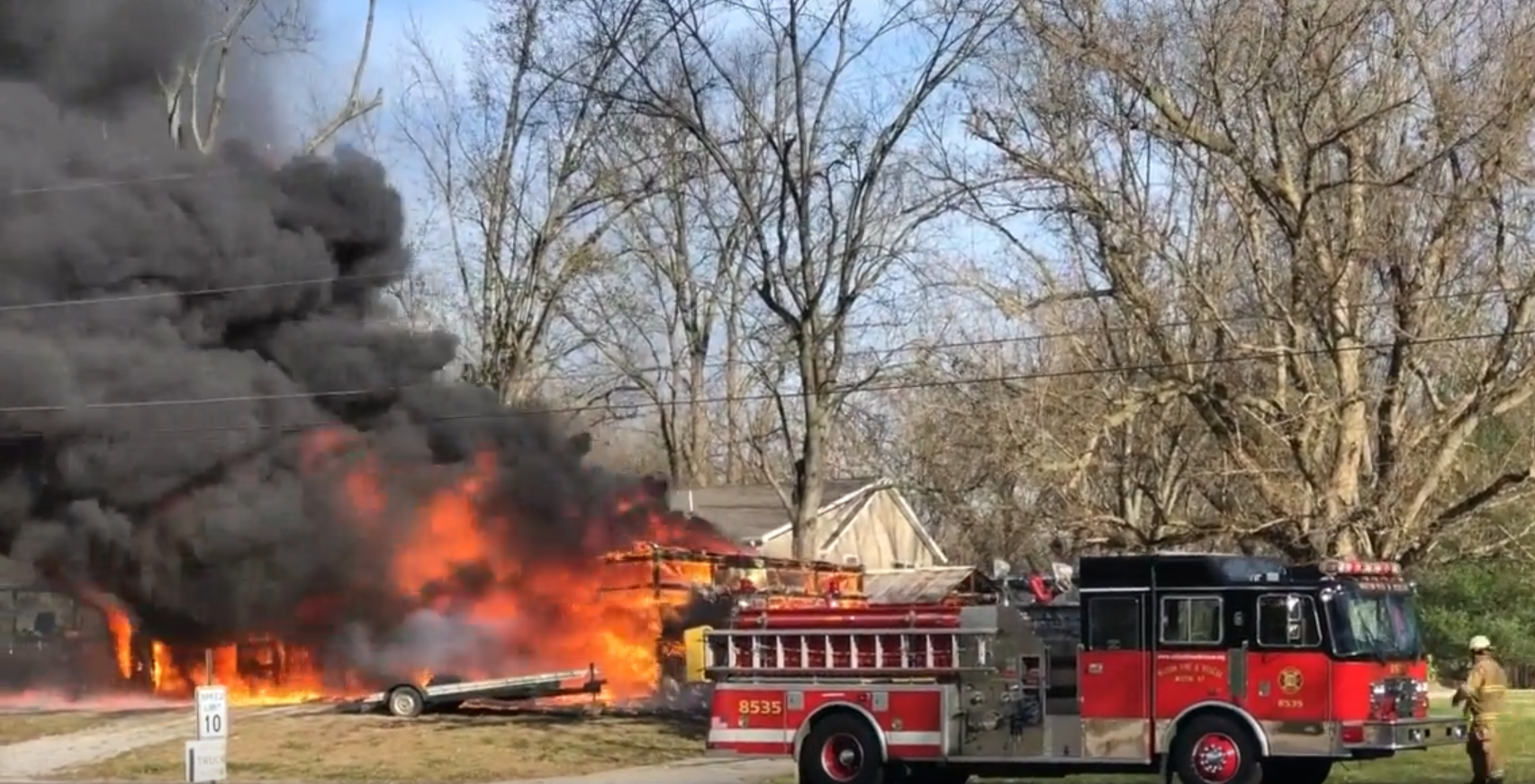 Garage Fire in Milton Kentucky on Windy Day