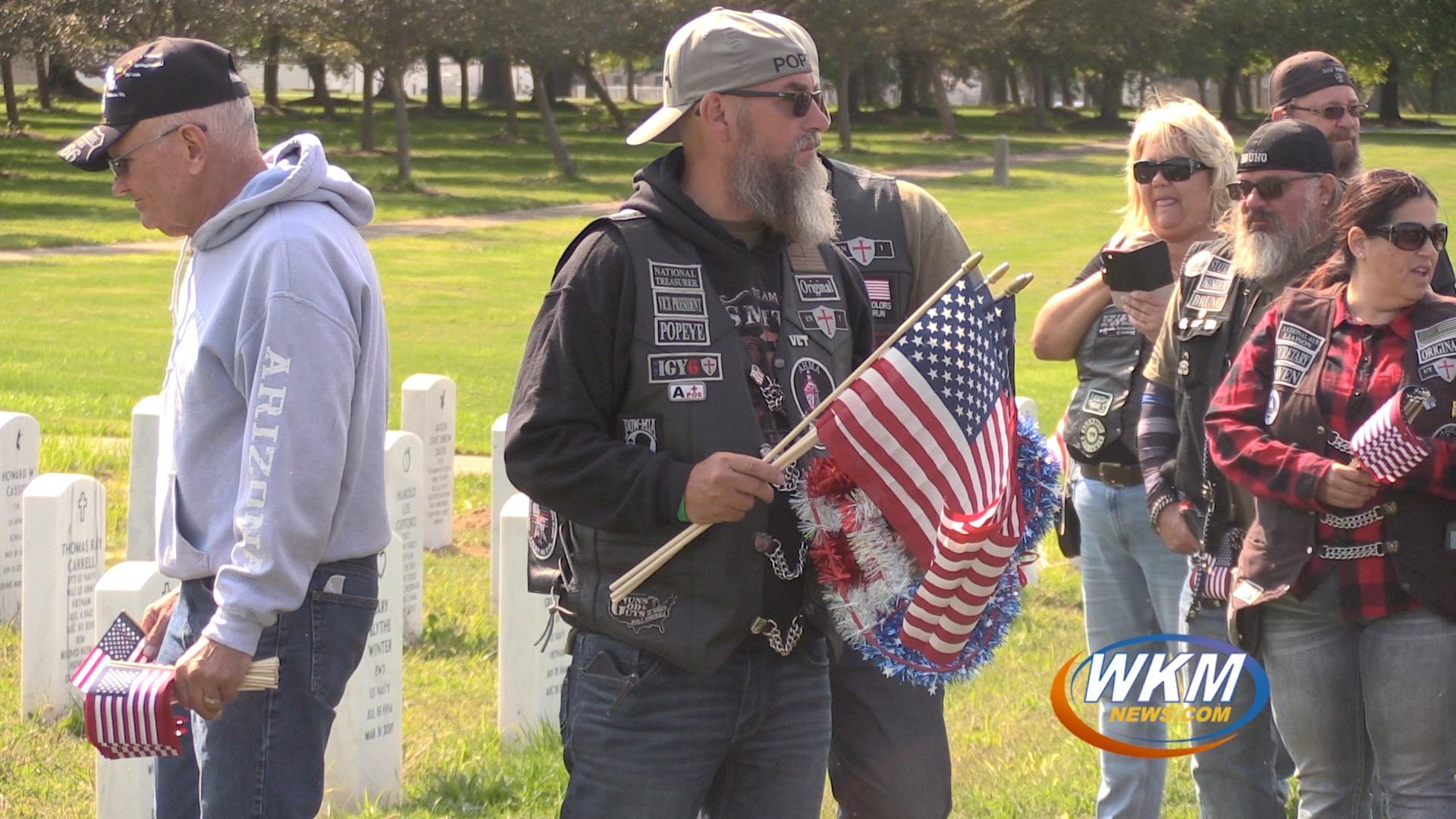 American Heroes Motorcycle Association Lays Flags at Veterans Memorial Cemetery