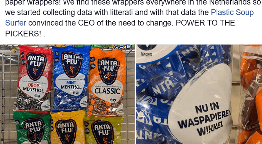 Anta Flu creates new non-plastic wrapper after Litterati data shows pervasiveness of their wrappers in the Netherlands
