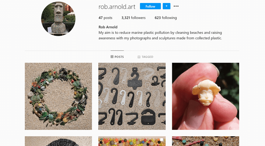 Rob Arnold's Instagram account where he chronicles in interesting photographs plastic litter he's sifted from his local beach