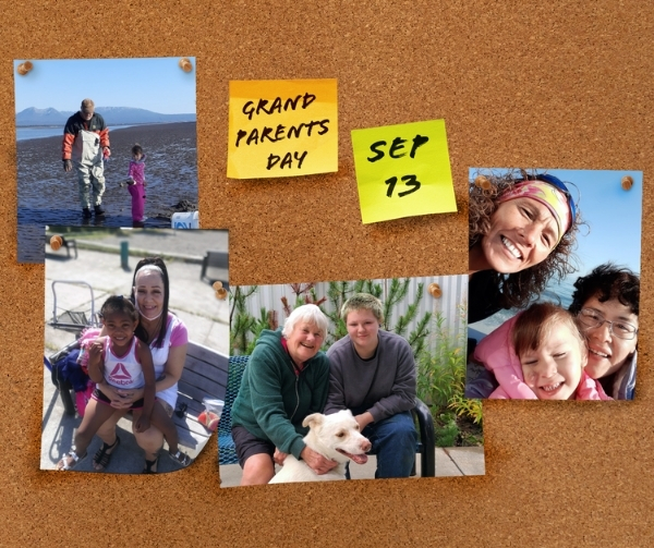 Mock corkboard with photos of kinship family program grandparents.