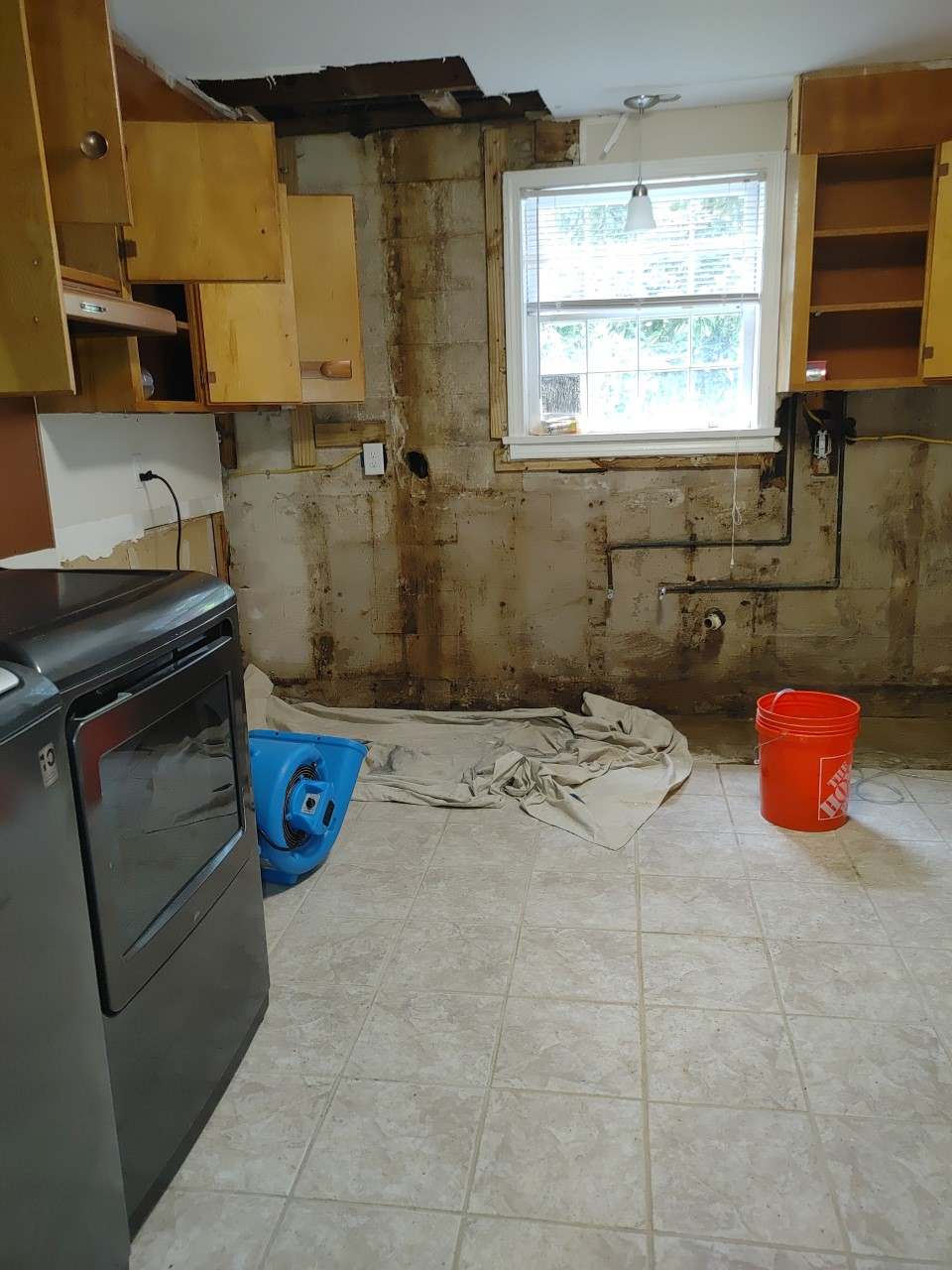 thumbnail_Kitchen wall after black mold removed and before wall is sealed