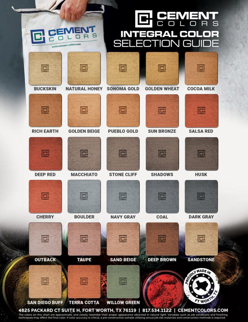 Integral Color Chart Cement Colors