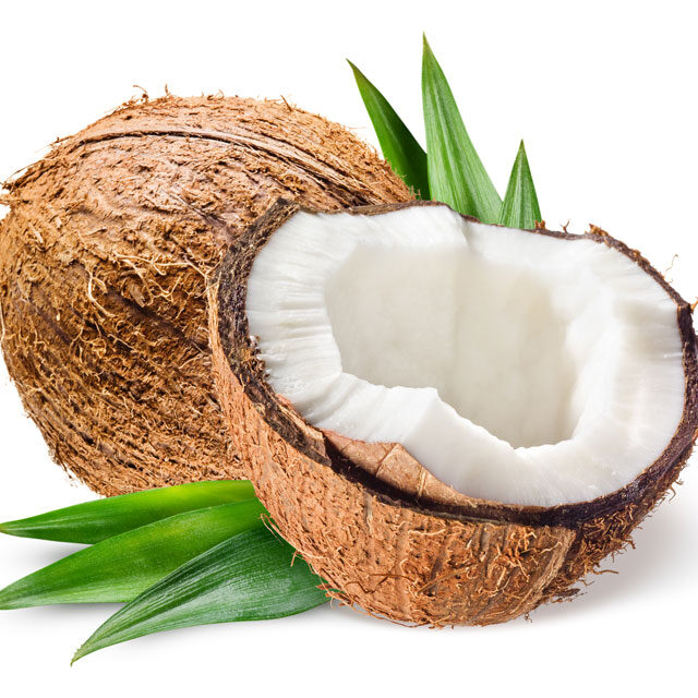 Coconut-with-half-and-leaves-on-white-background