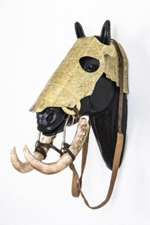 Horse Head Armor with Carved Baby Mammoth Tusk Bridle