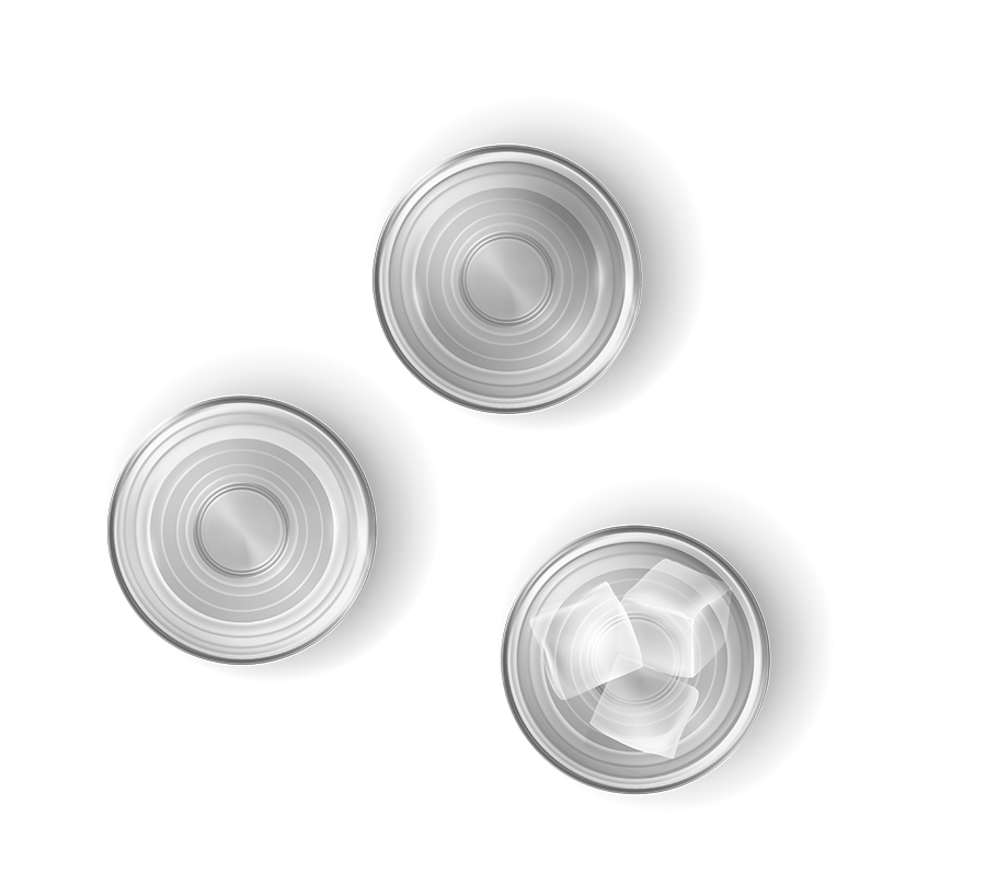 Top view of three clear shot glasses