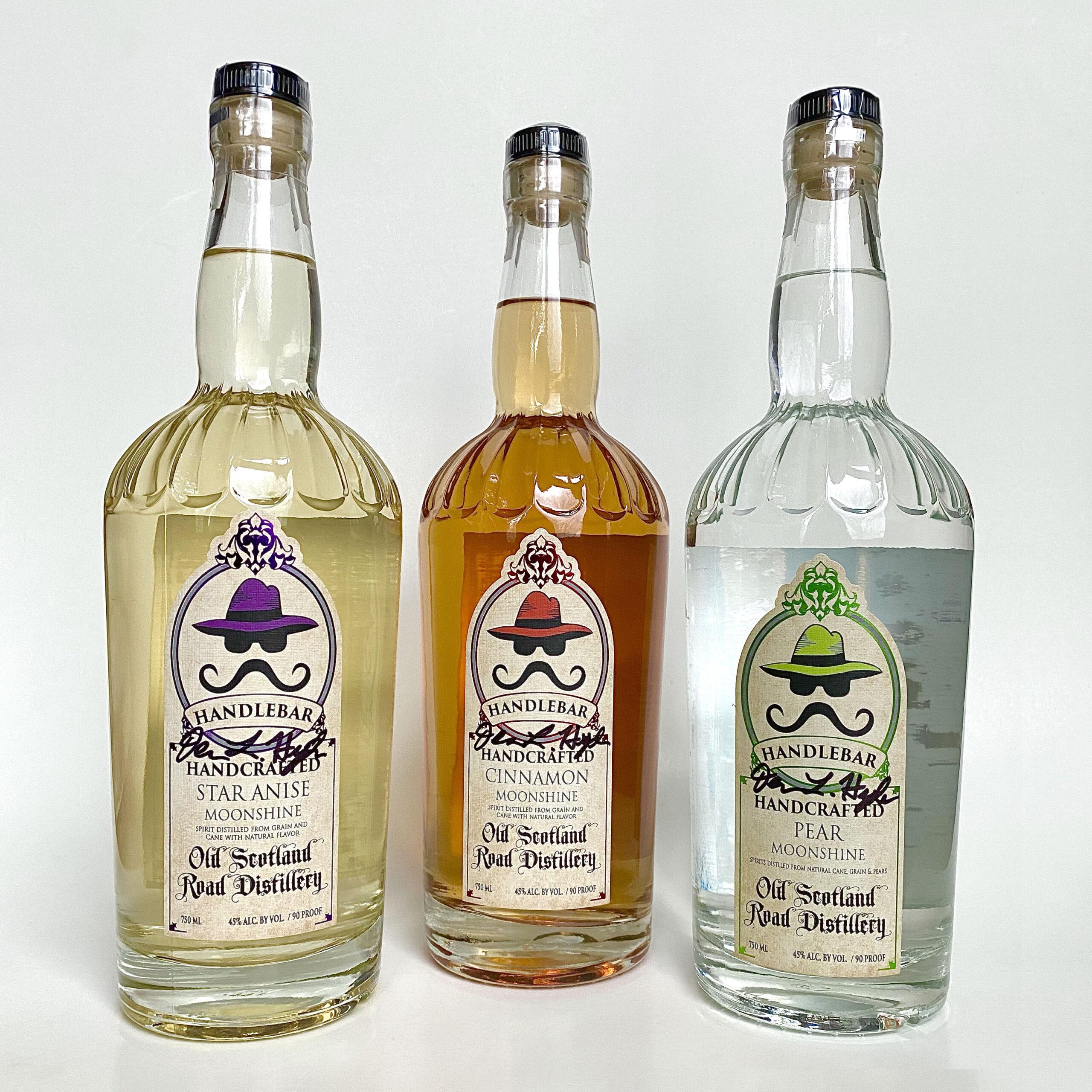 Close-up of White Corn Whiskey Bottle Label