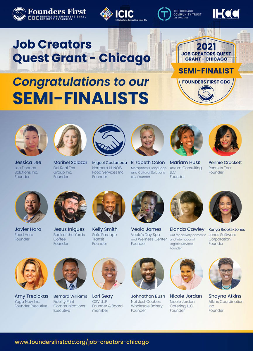 Del Real Tax Group, Inc was included as a semi-finalists for the Chicago Job Creators Quest Grant