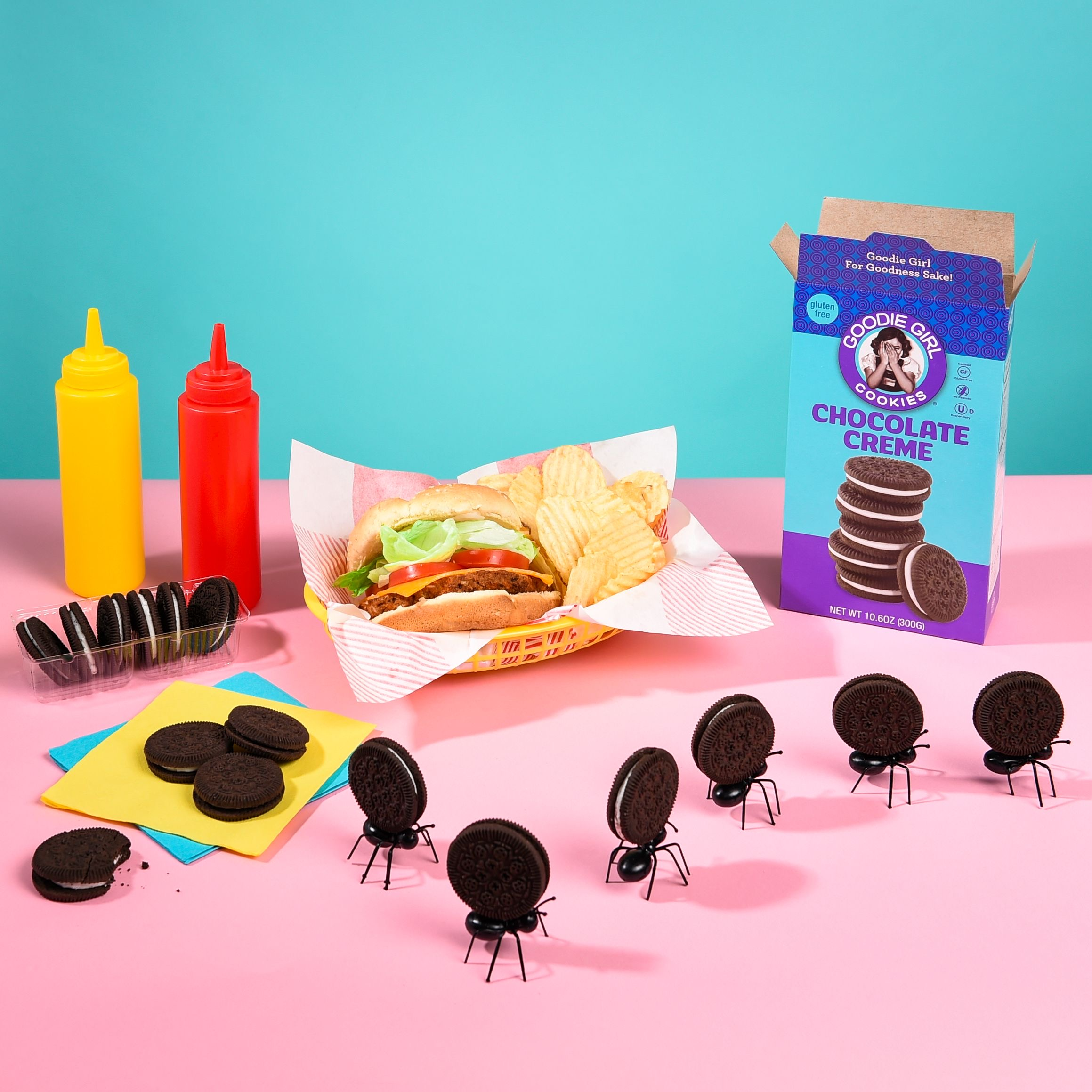 Goodie GIrl Cookies with burger, fries and ants