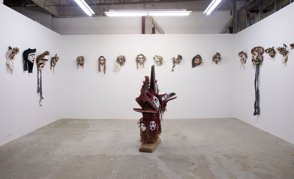 Installation View of Atlakim Mask by Beau Dick