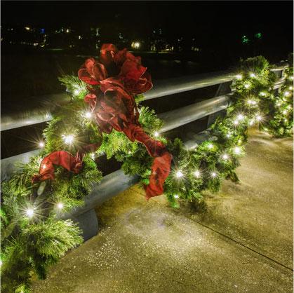Full Moon Christmas Light Installation St Simons Island GA garland